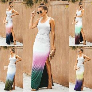 عارضة النساء سبليت أكمام اللباس التدرج الرقبة الطاقم سليم اللباس الصيف Famale الأزياء نمط اللباس