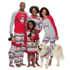 Navidad de la familia pijamas Set Familia de Navidad configuración uniforme de trajes de fiesta Home Use ropa de dormir ropa de dormir adultos pijamas de algodón de los niños