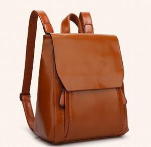Designer-donne zaino in pelle femminile borse in pelle istituto sacchetto di scuola studente marea vento brevetto borsa da viaggio