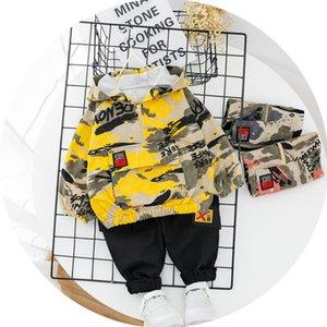 İlkbahar Sonbahar Çocuk Baskılı Bebek Boys Kız Giyim Kamuflaj Kapşonlu Pantolon 2pcs / setleri Bebek Çocuk Moda Bebek Eşofmanlar