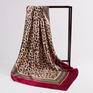 Платок шелковый атлас хиджаб шарф для женщин площади шали Leopard печатающей головки Платки Женский 90 * 90см шарфы для дам