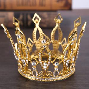 Reine Cycle d'or Crown Diamond Mesdames bijoux de diamant Couronnes de mariée Accessoires de mariage ronde Style de la Couronne européenne Rétro Palais de la Couronne