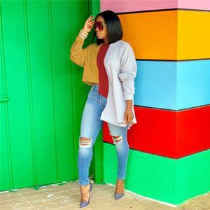 Womens irregular colorido invierno sudaderas Mujer remiendo de la manera del O-cuello de la manga larga capucha mujeres sueltan ropa de calle