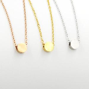 Fnixtar Edelstahl spiegelpoliert 3 * 5mm runder Kreis-Charme-Halskette Kleiner Punkt-Ketten-Halskette 40/45 / 50cm 10piece / lot