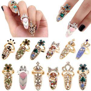 Moda Takı Ilmek Tırnak Yüzük Charm Taç Çiçek Kristal Parmak Tırnak Yüzük Kadınlar Için Lady Rhinestone Tırnak Koruyucu hediye