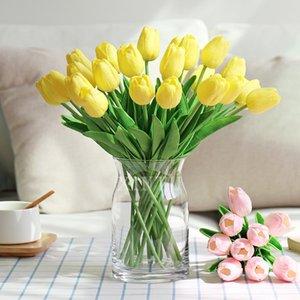 Großhandel 32cm Länge PU Tulip Künstliche Blumen Real Touch Weiche für Hauptdekorationen Artificial Blumenstrauß Gefälschte Blumen-Hochzeit Tischdekoration