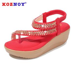 Koznoy 2020 Kadınlar Sandalet Yaz Moda takozları Kristal Nefes Platformu Elastik Nedensel Kadınlar Kalın Dip Tek Sandalet