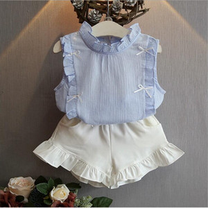 New 2-8 Years Kids Clothes for Girls The Bow Skirt and Lace Top Summer Suit Korean Style Children's Clothing Sets Baby Toddler Set