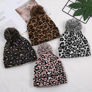 KOSTENLOSE DHL Ins Mode Leopard Frauen Beanies Gestrickte Konfetti Ball Top Caps Erwachsene Qualität Leopard Hüte Großhandel