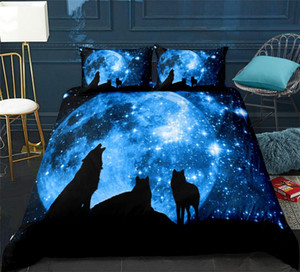 Wolves Bettwäscheset Galaxy Starry Sky Bettwäsche-Set 3tlg Dreamy Teen Heimtextilien Dark Blue Bettbezug Direktversand