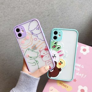 The transparent creative case of little bear and rabbit cartoon is suitable for iPhone 7 8 X XS XR XSMax 11 Pro max