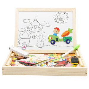 Magnetic Puzzle Board Children Kids Farm Jungle Animal Jigsaw Wooden Educational Writing Toys Drawing Easel Boards LXL630A