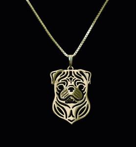 Venda por atacado ouro pug terrier colar 3d cut out pug filhote de cachorro cão amante pingente memorial colares pingentes presente de natal