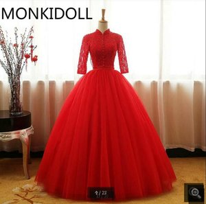 Robe de mariage red lace 3 4 sleeve ball gown wedding dress high neckline hollow back sexy pleated wedding gowns boho bride dresses hot sale