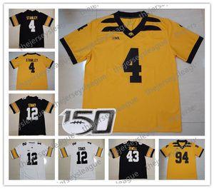 2019 Iowa Hawkeyes # 4 Nate Stanley 43 Josey Jewell 15 Josh Jackson 14 Desmond King 12 Ricky Stanzi Sarı Siyah NCAA Futbol Forması