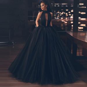 Ball Gown Black Backless Tulle Floor Length Prom Gowns Split Side Long Formal Graduation Dresses vestidos de gala Puffy Pro