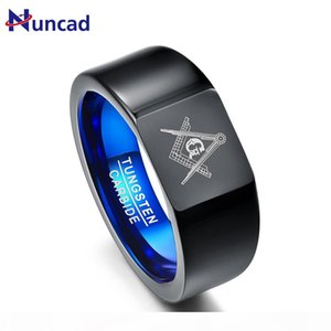 Nuncad Retro Big Head Style tungsten carbide rings Vacuum Plating Black with Blue rings Laser Masonic Sign Tungsten Ring T076R