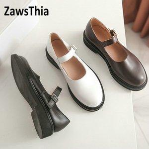 Sianie Tianie 2020 primavera estate vera pelle marrone nero donna scarpe bianche scarpe da Janes signore cinghia donne mary fibbia