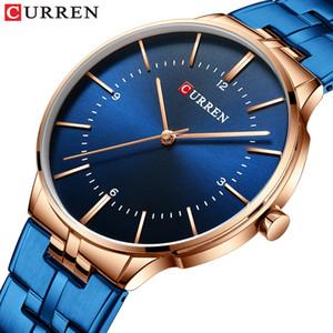 CURREN Reloj Hombre 2019 новые мужские часы модные часы ремешок из нержавеющей стали водонепроницаемые кварцевые часы для мужчин синие часы
