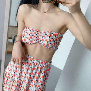 New Style Ladies Beachwear 2 Piece Set Printed Tube Top Elastic Waist Skirt