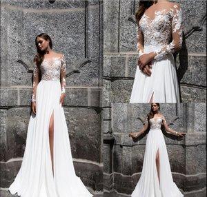 2018 Milla Nova Beach Bohemian Wedding Dresses Lace Sexy High Side Split Lace Applique Chiffon Long Sleeves Wedding Dress Bridal Gowns Boho