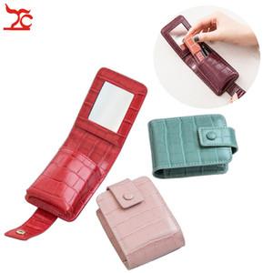 Moda jóias Embalagem bolsa de viagem organizador PU couro portáteis casos de beleza Caixa de armazenamento pequeno Batom Cosmetic Bag 9.5x7x3cm
