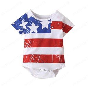 Baby Striped Spielanzug 4. Juli Unabhängigkeitstag Kinder Junge Designerkleidung Infant amerikanisch Printed Onesies Kleinkind Baby-Strampler