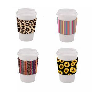 Favori isolato Neoprene Sleeve della tazza di caffè riutilizzabile caffè caldo bevande Coppa Grip Girasole Leopard Personalizza Stampe festa di nozze