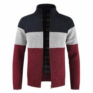 Cardigan Jacket para hombre casual en color a juego collar del soporte otoño e invierno de la cremallera suéter Slim Fit Cardigan Chaqueta de los hombres