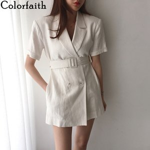 Colorfaith New 2020 Summer Women's Blazers Casual Double Breasted Jackets Notched Lace Up High Waist Pockets Short Tops JK1153