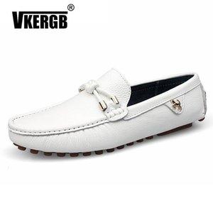 Vkergb Homens sapatos de couro feitos à mão mocassins de couro dos homens preguiçosos Design Estrela mundial deslizamento sobre Comfort Peas Sapatos Homens