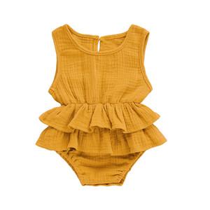 Newborn neonate strato Linea maniche increspature delle tute di estate del cotone delle tute casuali solidi infante Playsuits Outwear