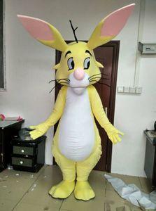 2019 Costume de mascotte de lapin en peluche adulte costume de mascotte de lapin jaune pour les vacances de Pâques