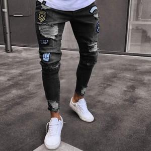 Yeni Erkek Jeans Moda Sıkıntılı Fermuar Jeans Mens Sıska Biker Pantolon Hip Hop Kot Pantolon Mavi Ripped