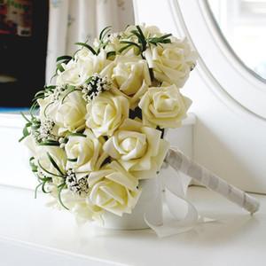 Fashion Ivory 25PCS Rose Holding Flower Wedding Bridal Bouquet Decorations Perfect Fashion Wedding Favors Hand Holding Flower 25cm