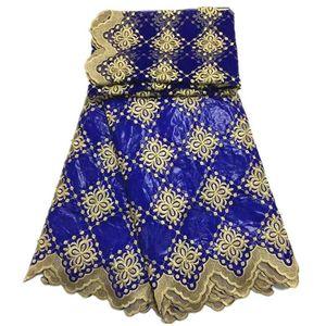 Afrika kumaş Bazin riche kumaş tissu africain pamuk ışlemeli bazin riche getzner ile tül dantel set Afrika dantel