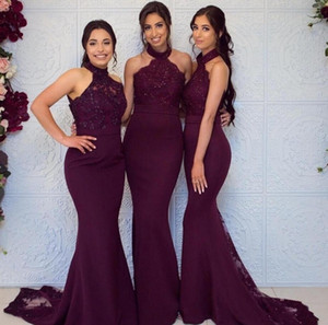 Plus Size Grape Mermaid Bridesmaid Dress Long High Neck Wedding Guest Black Girl Wedding Prom Evening Party Gowns