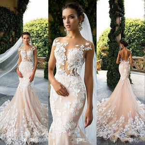 Milla Nova Champagne Mermaid Wedding Dresses Illusion Cap Sleeves 3D Floral Lace Appliques Backless Court Train Custom Formal Bridal Gowns