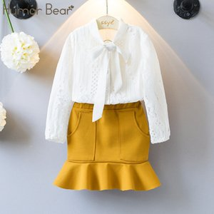 Humor Bear Baby Girl Clothes Suit 2018 Brand Full Girl Suit Baby Bay clothes Hollow out design Toddler Girl Tops+ Pant 3-7Y T200526