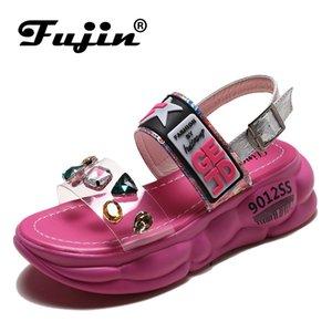 Fujin обувь платформы сандалии лето Новый Dropshipping Европейский Женщины Сандал сдобы станция Боковые подушки Tide обувь Rhinestone сандалии CJ191220
