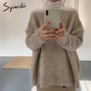syiwidii mohair sobredimensiona las mujeres jersey de cuello alto, más de moda 2020 de punto ropa de invierno suéter de las mujeres del tamaño suéter superior coreano