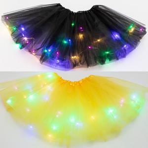 Multicolor lindo de los niños vestido de LED con luces de estrellas de lentejuelas de la falda del tutú hinchada vestidos de niña luminosos de funcionamiento de la etapa del partido y 50pcs