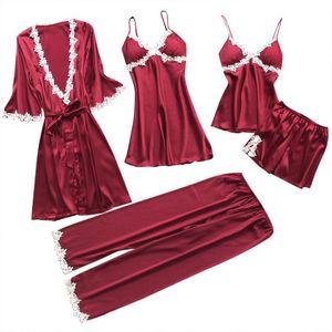 Desgaste de dormir Set raso Pijama Hogar de seda pijamas de las mujeres 5pcs bordado del sueño Salón pijama con el pecho de pijama Pads Femme