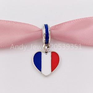Autentico Argento 925 Perle Francia Heart Flag argento ciondola con blu, bianco e rosso dello smalto fascini Adatto stile europeo gio Pandora