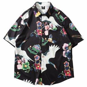 2020 Hip Hop-Hemd Street Mens Hawaiihemd Chinese Painting Kran Harajuku Sommer-Strand-Hemd Hawaii Thin Short Sleeve