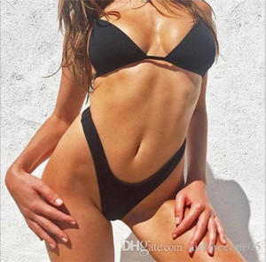 Женские Летней 2Pcs Soild Цветой Tankinis Thong Bikini Sexy Купальники купальники пляжных Комбинезоны