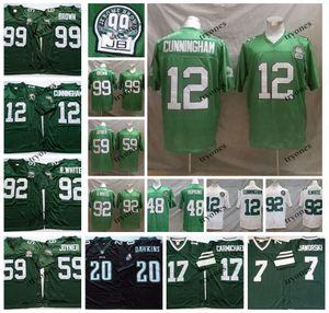 Para hombre de la vendimia de la NCAA 12 Randall Cunningham 59 Seth Joyner 92 Reggie White 99 Jerome Brown 20 Brian Dawkins 48 Wes Hopkins jersey del fútbol