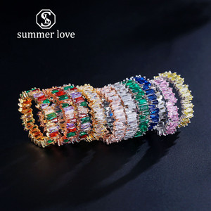 2019 Nova Rainbow Baguette CZ Eternidade Na Moda Anéis de Pilha De Casamento De Noivado para As Mulheres Anéis de Zircão Incrustada de Cobre Anéis de Presente de Jóias