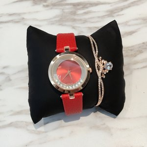2019 Fashion lady leather watch with rolling diamond Stainless Steel Rose gold Bracelet women Wristwatches Brand female clock gold silver