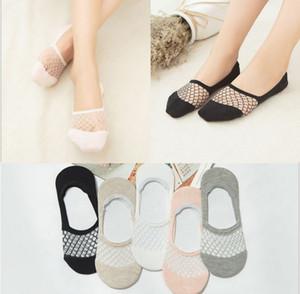 Оптовые носки No-Show, невидимые женские низко вырезанные кружевные нескользящие летние сетчатые носки Grip Socks для женщин и дам